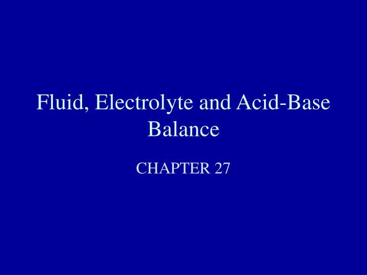 fluid electrolyte and acid base balance n.