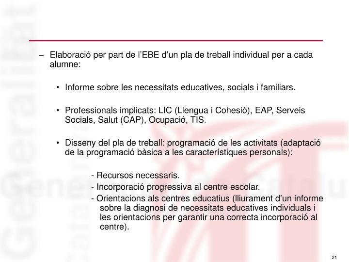 Elaboració per part de l'EBE d'un pla de treball individual per a cada alumne: