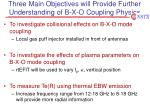 three main objectives will provide further understanding of b x o coupling physics