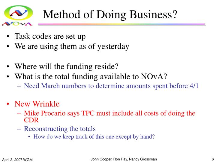 Method of Doing Business?