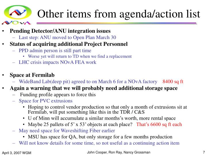 Other items from agenda/action list