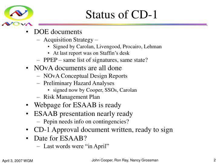 Status of cd 1