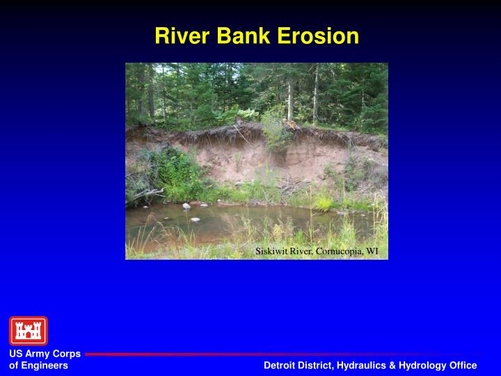 river bank erosion n.