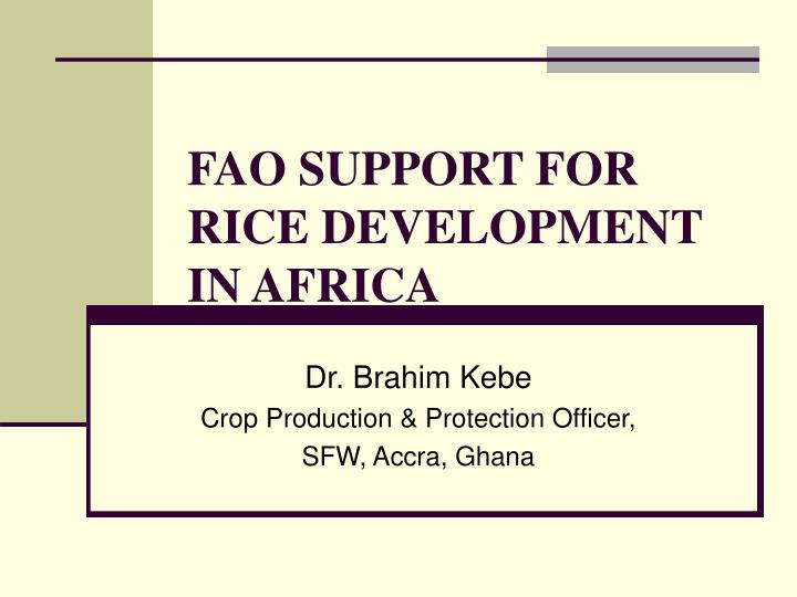 fao support for rice development in africa n.