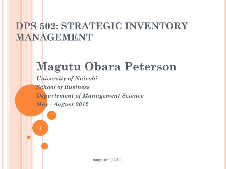 dps 502 strategic inventory management n.