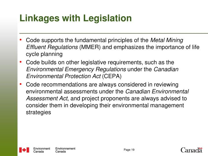Linkages with Legislation