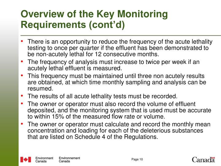 Overview of the Key Monitoring Requirements (cont'd)