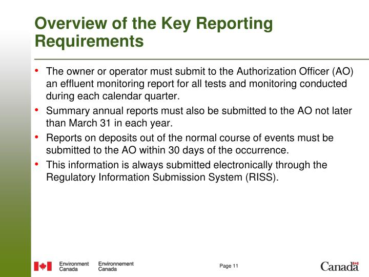 Overview of the Key Reporting Requirements