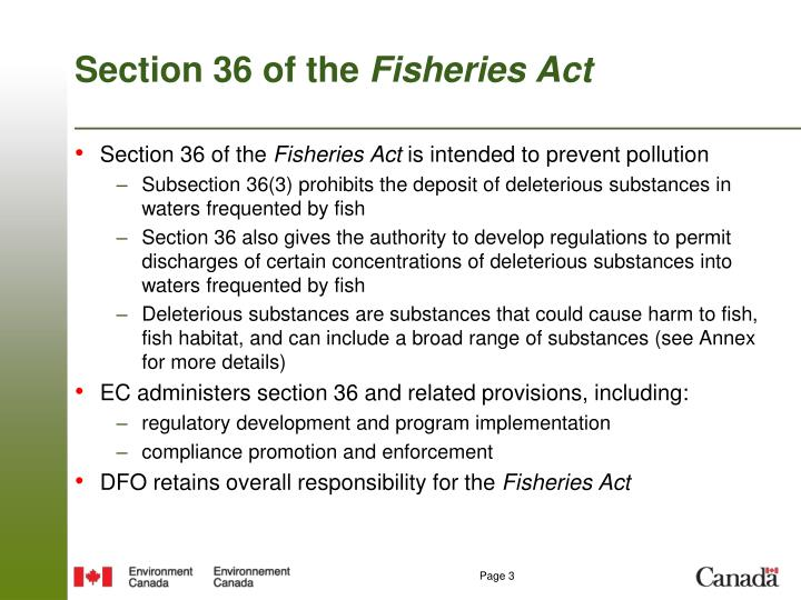 Section 36 of the fisheries act