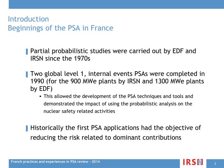 Introduction beginnings of the psa in france