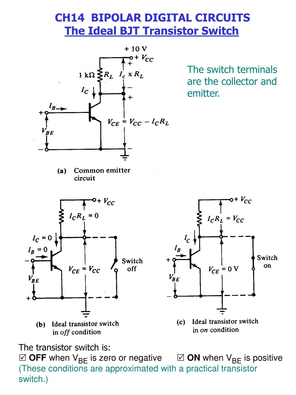 Ppt The Switch Terminals Are Collector And Emitter Powerpoint Common Transistor Circuit Presentation Id3291204