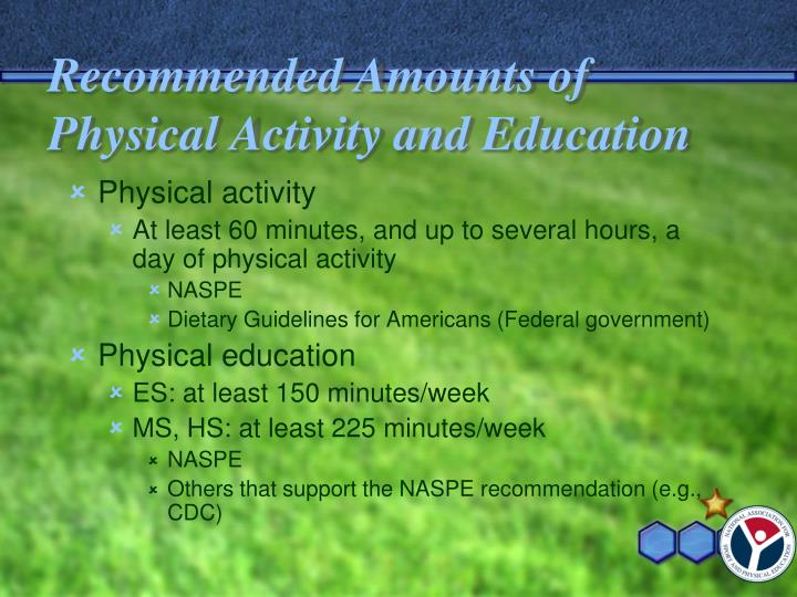 Recommended Amounts of Physical Activity and Education