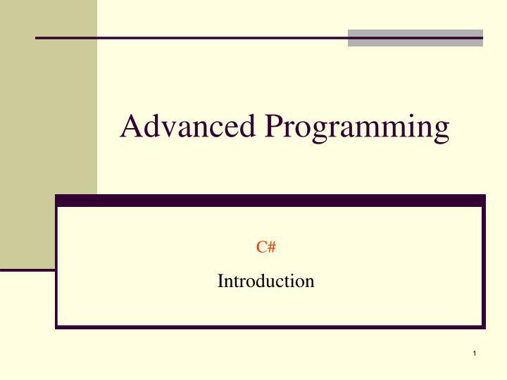 advanced programming n.