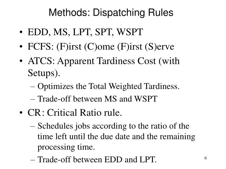 Methods: Dispatching Rules
