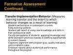 formative assessment continued