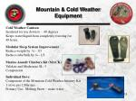 mountain cold weather equipment