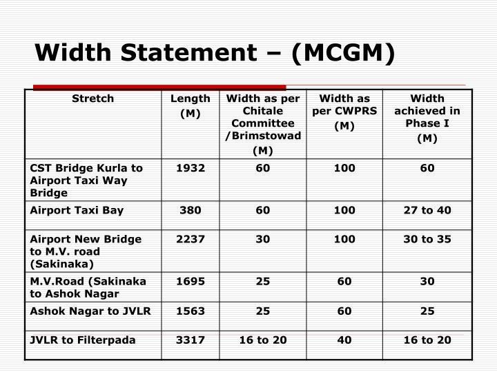 Width Statement – (MCGM)
