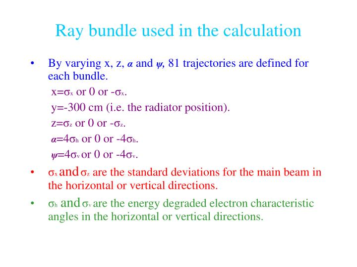 Ray bundle used in the calculation
