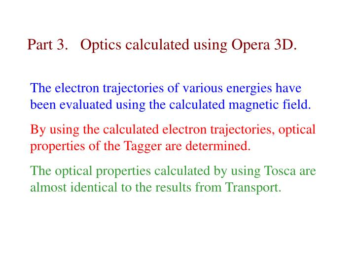 Part 3.   Optics calculated using Opera 3D.