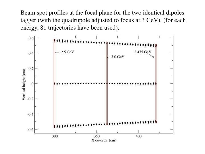 Beam spot profiles at the focal plane for the two identical dipoles tagger (with the quadrupole adjusted to focus at 3 GeV). (for each energy, 81 trajectories have been used).