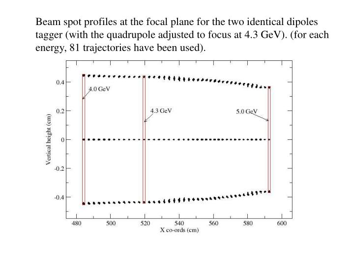 Beam spot profiles at the focal plane for the two identical dipoles tagger (with the quadrupole adjusted to focus at 4.3 GeV). (for each energy, 81 trajectories have been used).