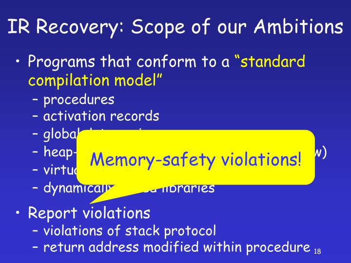 IR Recovery: Scope of our Ambitions