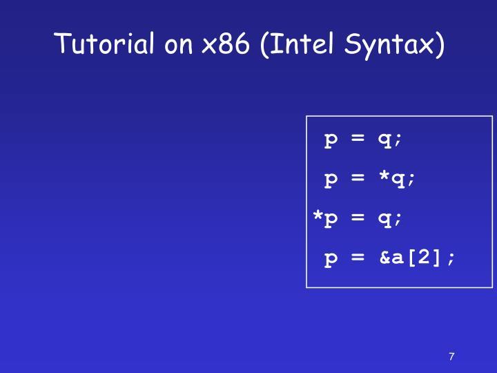 Tutorial on x86 (Intel Syntax)