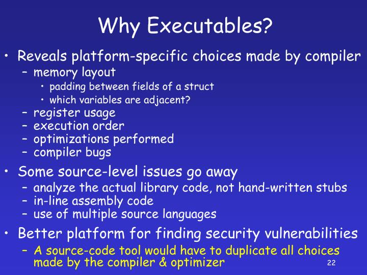 Reveals platform-specific choices made by compiler