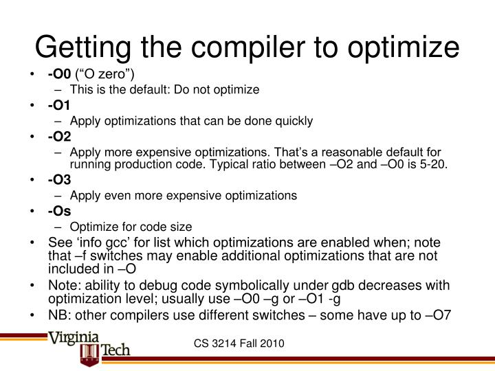 Getting the compiler to optimize