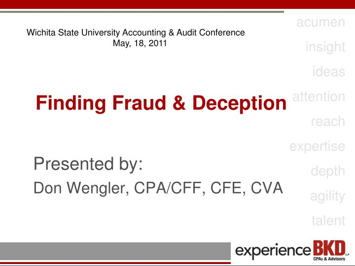 finding fraud deception