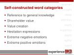 self constructed word categories
