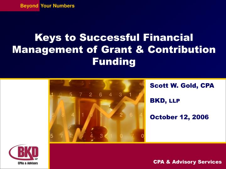 keys to successful financial management of grant contribution funding n.