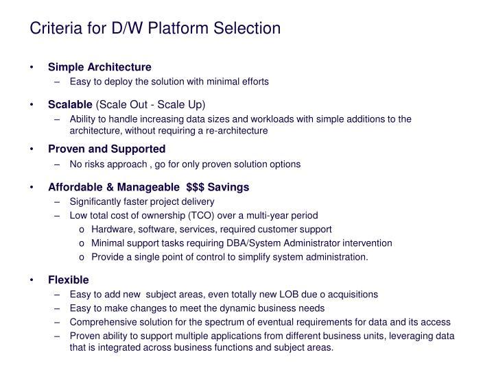 criteria for d w platform selection n.
