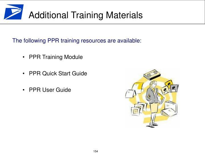 Additional Training Materials