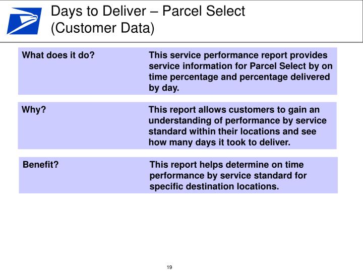 Days to Deliver – Parcel Select