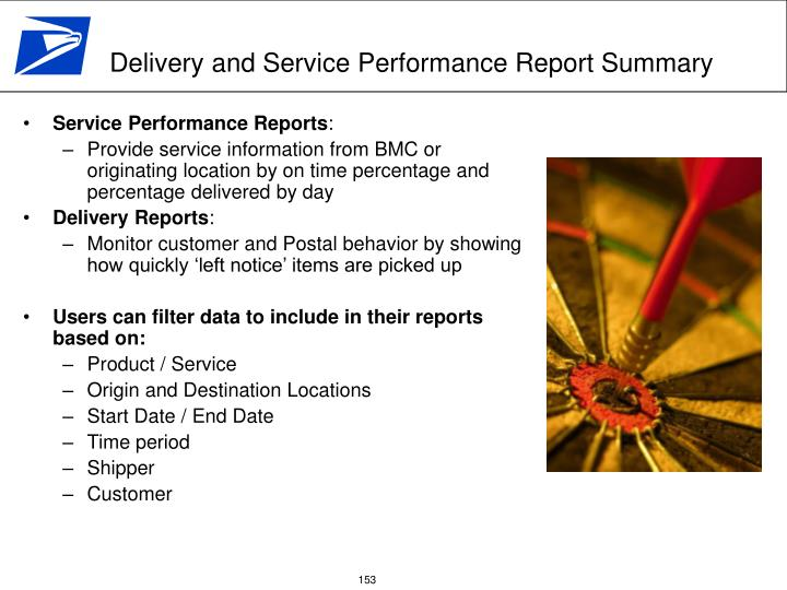 Delivery and Service Performance Report Summary