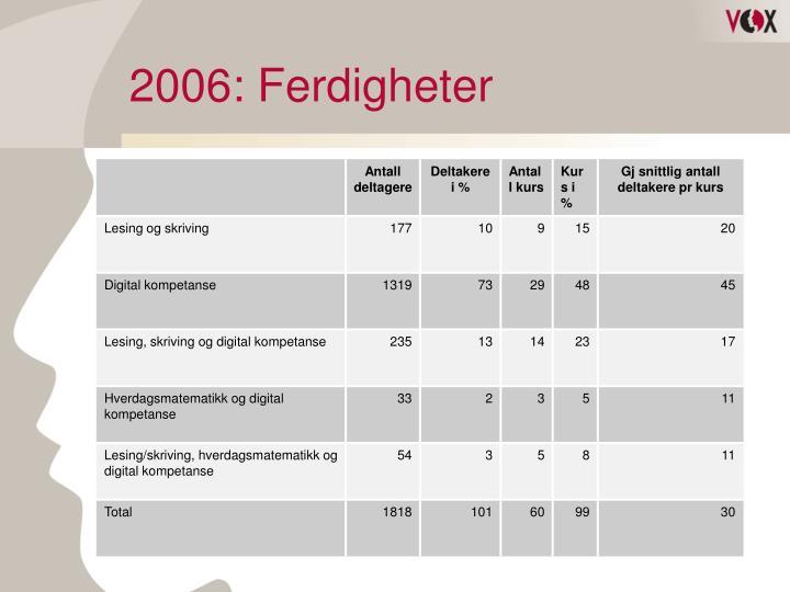 2006: Ferdigheter