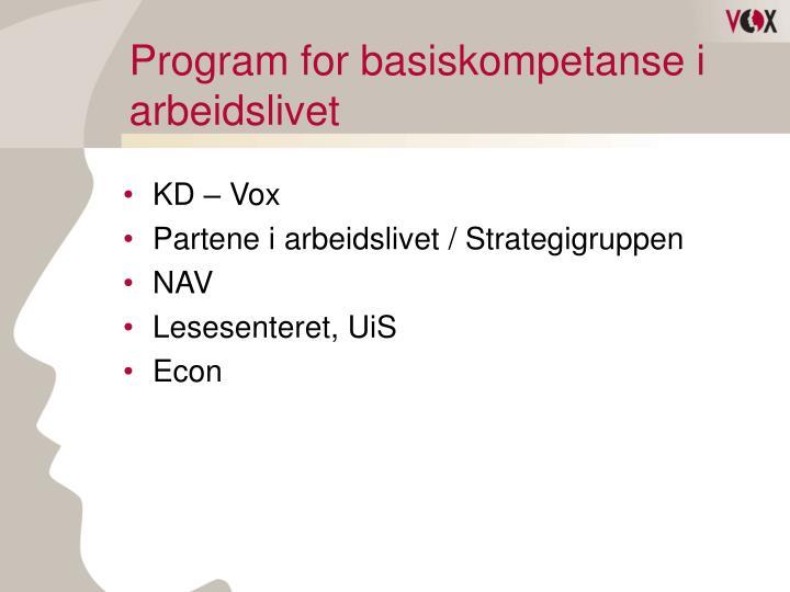 Program for basiskompetanse i arbeidslivet1