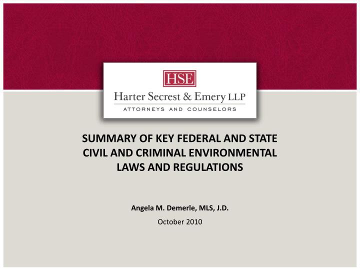 summary of key federal and state civil and criminal environmental laws and regulations n.