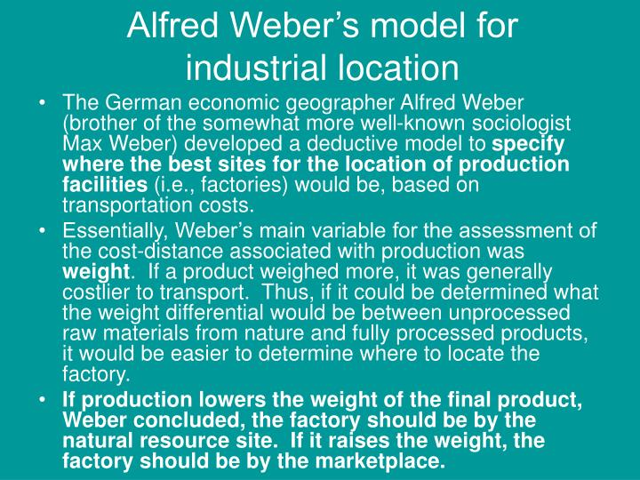 Alfred Weber's model for industrial location