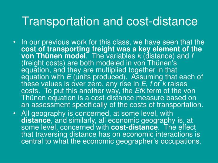 Transportation and cost-distance