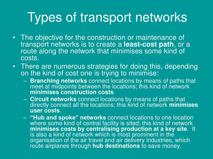 Types of transport networks