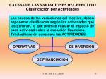causas de las variaciones del efectivo clasificaci n por actividades