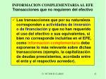informacion complementaria al efe transacciones que no requieren del efectivo
