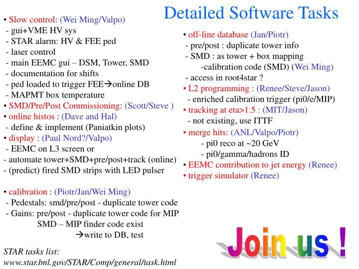 Detailed Software Tasks