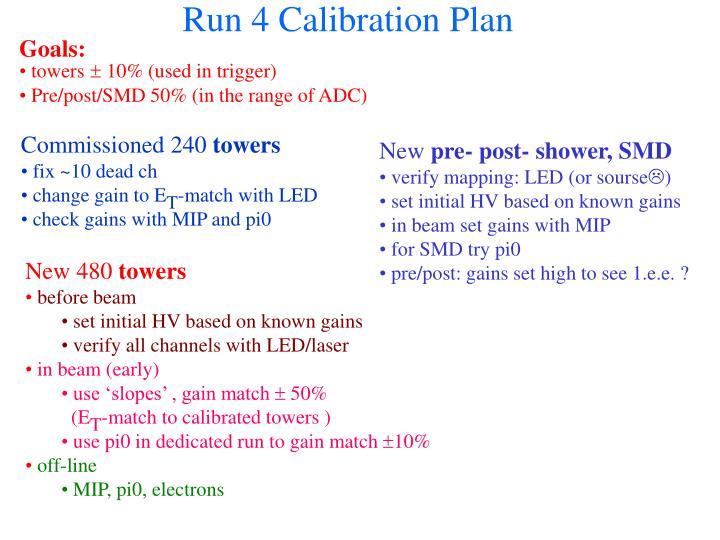 Run 4 Calibration Plan