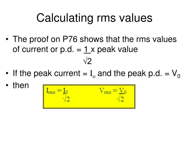 Calculating rms values