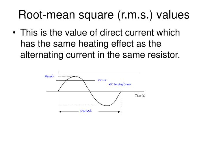 Root-mean square (r.m.s.) values