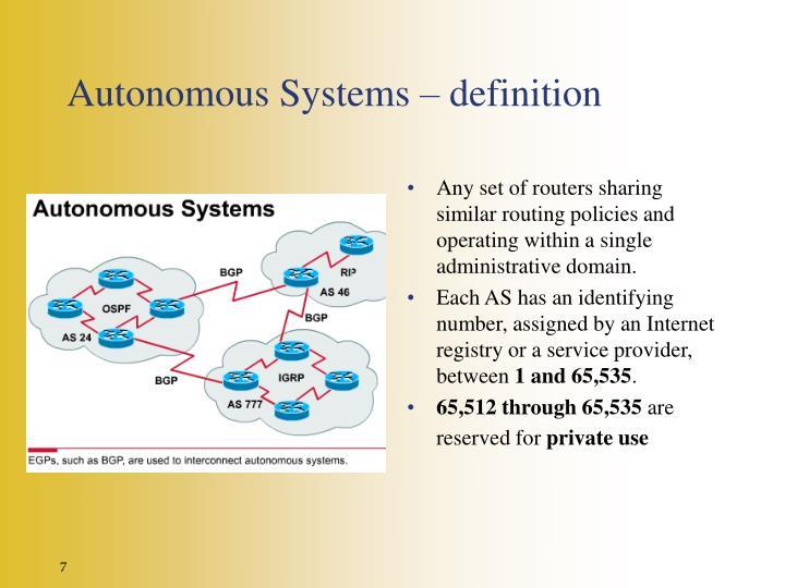 Autonomous Systems – definition