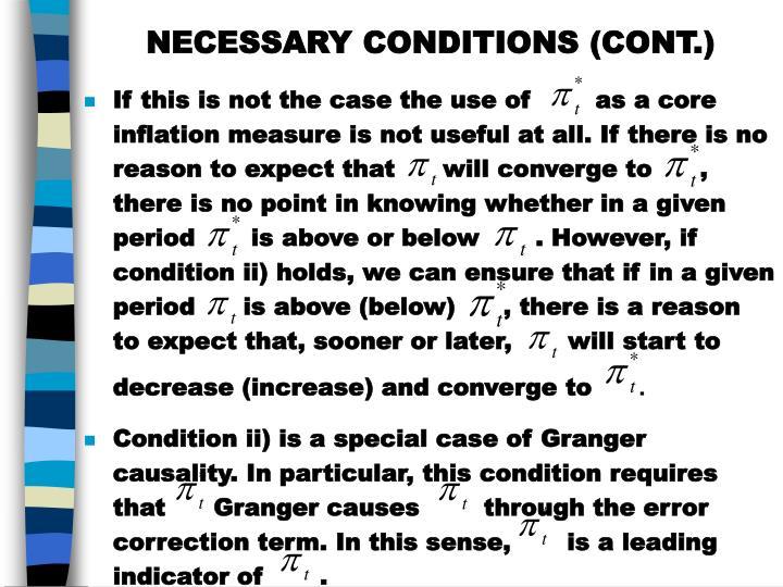 NECESSARY CONDITIONS (CONT.)